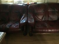 Real leather 3 seater and 2x 2 seater (total 7 seater for sale