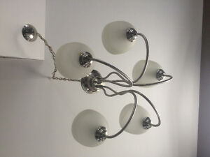 Silver and white chandelier