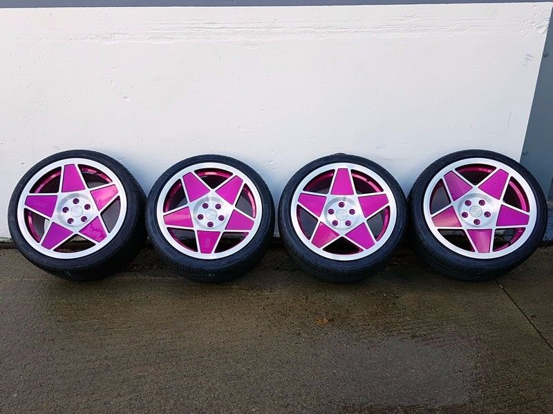"""19""""x9.5"""" 3SDM 0.05 Pink with a polished face Alloy Wheel for 5x112 Audi A4 Etc"""