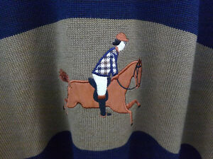 AQUASCUTUM Mens Sweater Size L Navy and Beige With Polo Graphic