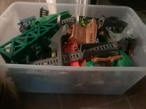 Large Bin of Thomas the train tracks and trains