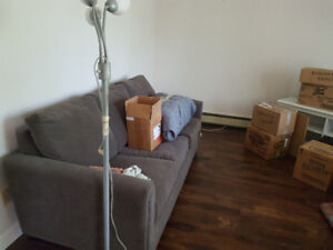 Gray sofa bed w/ memory foam for SALE - wont fit in my place!