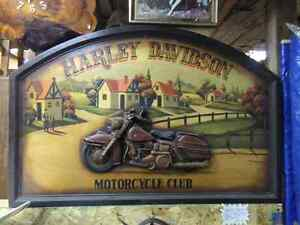 HARLEY DAVIDSON MOTORCYCLE VINTAGE COLLECTABLE BIG WOOD SIGN