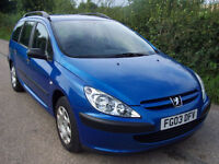 2003 03 Plate Peugeot 307 1.4 Hdi Estate In Blue , Low Mileage , Cheap Mpg