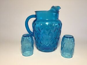 "1960's Anchor Hocking ""Madrid"" Jug and glasses"