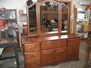 Oak 8 Drawer Dresser with swing Mirrors