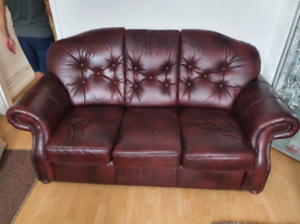 ANTIQUE LEATHER 3 SEATER SOFA AND CHAIR IN OXBLOOD