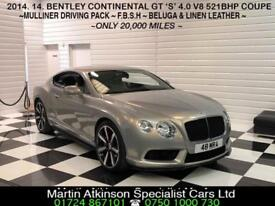 2014/14 Bentley Continental GT 'S' 4.0 V8 521BHP Coupe