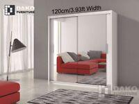 BRAND NEW 120CM WIDE /// 2 DOOR SLIDING WARDROBE FULLY MIRROR HIGH QUALITY WARDROBE