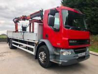 2008 08 DAF LF 55.220 22ft alloy dropside Atlas 105.2 crane with block grab