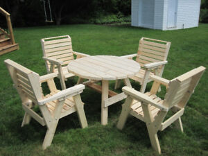 Wood Table and Chair Arrangement