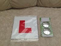 Learner L plates and blind spot mirrors