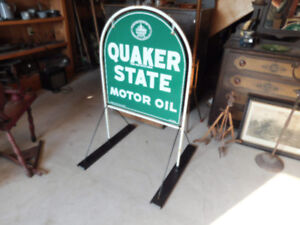 Vintage Antique Quaker State Tin Oil Sign from Gas Station