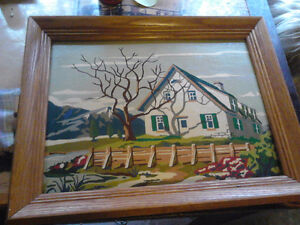 2 beautiful   hand painted pictures in solid oak frames..ready t