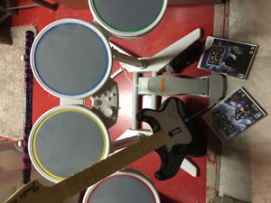 Rock band games, drum set, guitar