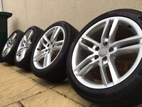 """18"""" Genuine Audi A4/A5/A6 Sline alloy wheels and Continental tyres 5x112"""
