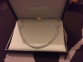 Goldsmith Italian silver rose chain necklace