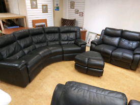 FREE DELIVERY black 4+2+footstool leather recliner suite