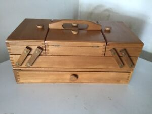 Beautiful Wooden Accordion Fold Out Sewing Box