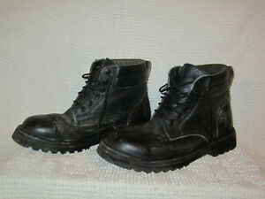 Black Leather Steal Toed Safety Boots Bottes cap d'acier noires