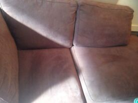 Right hand corner sofa with chase - brown fabric from Reid's