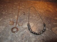 TWO NECKLACES WITH A PAIR OF EARRINGS