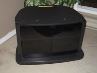 T.V. STAND - Wood & Smoked Glass Doors