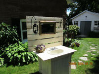 Rustic outdoor sink/vanity for weddings & events