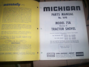 Clark Michigan 75A Series II Tractor Shovel Parts Manual 1962