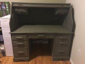 Large Solid Wood Roll Top Desk