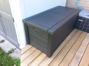 Large Deck box with pneumatic hinges.