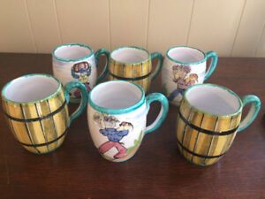 Six Coffee Mugs, wine barrels and grape Pickers, made in Italy