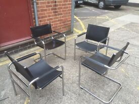 4 X leather & chrome chairs, can deliver