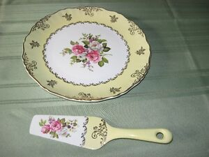 bone china cake plate and server,  made in England,old