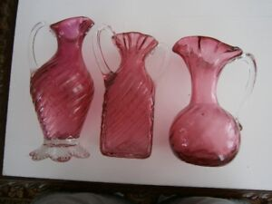 THREE EXCEPTIONAL CRANBERRY GLASS VASES
