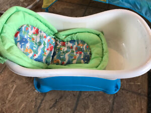 Misc baby items. Tub, booster seat