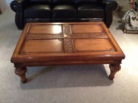 MAPLE COFFEE AND END TABLE WITH MATCHING SOFA TABLE