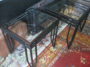 2 Metal and Glass Coffee End Tables