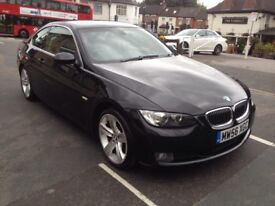 Black BMW 330d coupe 3.0l automatic, black leather interior,