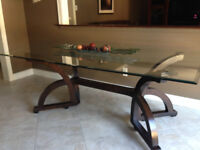 Bevelled glass dining room table