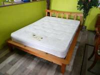 """Low Pine 4 ft 6"""" Bed Frame & Mattress - Can Deliver For £19"""