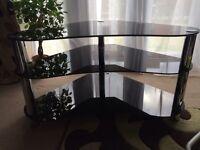 TV Stand 3 Tier Black Glass