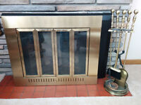 Brass plated fireplace screen and tool set