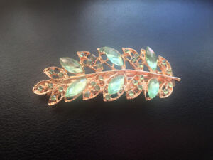 Beautiful Green and Gold Hair Clip/ Headpiece