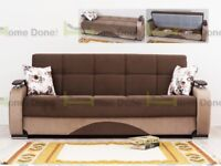 *14-DAY MONEY BACK GUARANTEE!** Zolton Turkish Fabric Luxury Sofabed with Storage in Black and Brown