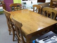 XMAS SALE NOW ON!! Solid Pine Table With 6 Reupholstered Chairs - Can Deliver For £19