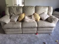 100% Real, Italian Leather sofa & chair, with recliners
