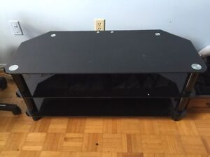 Black stained glass TV stand