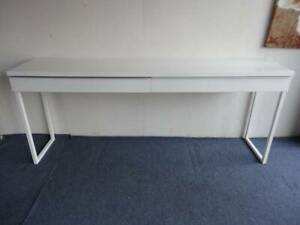 180cm HALL TABLE TV STAND DOUBLE DESK WHITE GLOSS 2 DRAWER METAL SLIDE