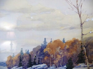 "Original Watercolor by William Blackwood, ""Winter Study"" 1930 Stratford Kitchener Area image 8"